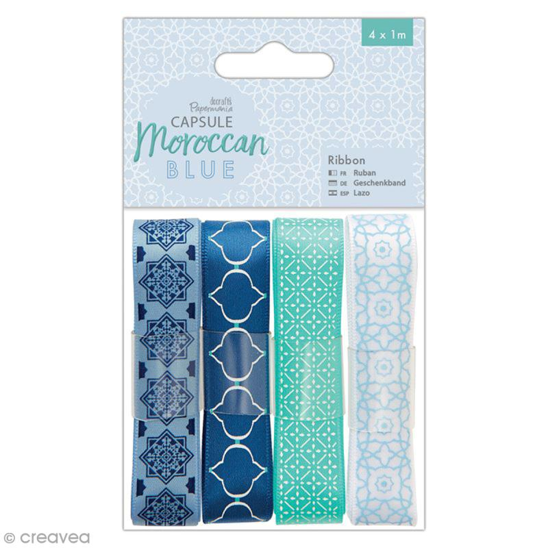 Ruban scrapbooking Papermania - Collection capsule Moroccan Blue - 4 x 1 m - Photo n°1