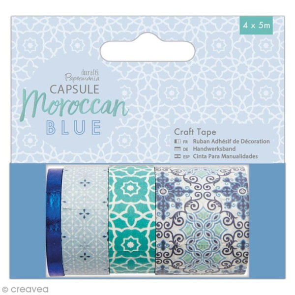 Assortiment Craft Tape Papermania - Collection capsule Moroccan Blue - 4 pcs x 5 m - Photo n°1