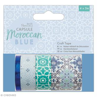 Assortiment Craft Tape Papermania - Collection capsule Moroccan Blue - 4 pcs x 5 m