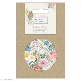 Assortiments d'autocollants en papier - Docrafts Freshly cut flowers - 75 pcs