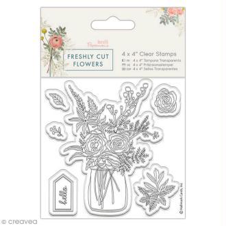 Tampon clear Docrafts Freshly cut flowers - Vase de fleurs - 6 pcs
