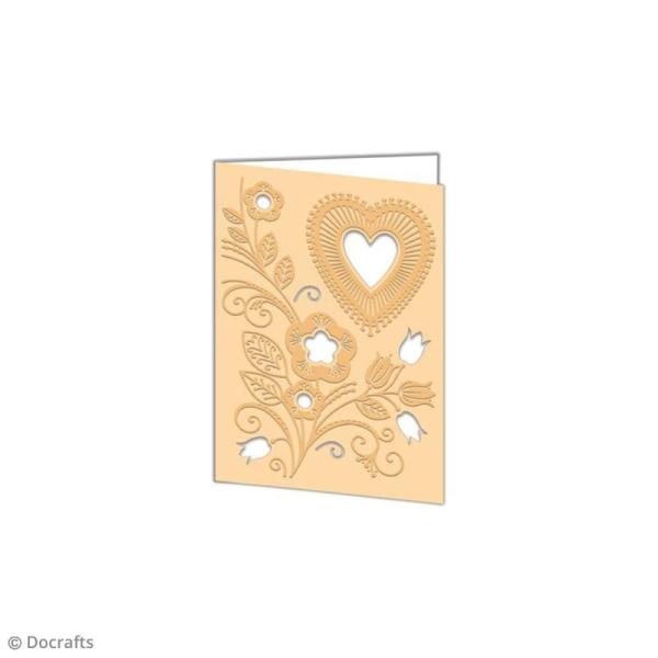 Matrice de coupe et d'embossage - Coeur folk et fleurs - 10 x 14,5 cm - 1 pce - Photo n°2