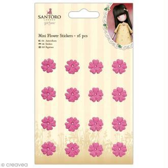 Sticker 3D papier Gorjuss - Minis fleurs roses - 16 pcs