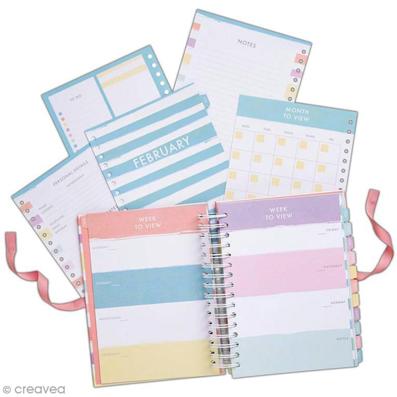 Planner spirale - Docrafts Noteworthy - Collection Pastel hues - 16,5 x 22,5 cm - Photo n°1