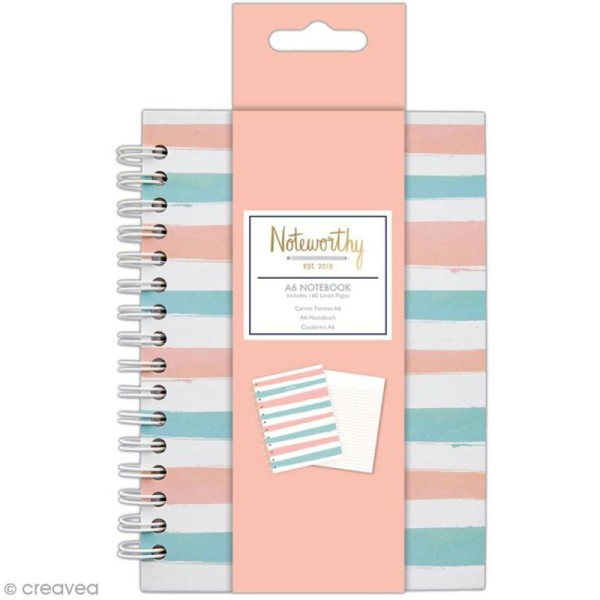 Carnet de notes à spirale A6 - Docrafts Noteworthy - Collection Pastel hues - Photo n°1