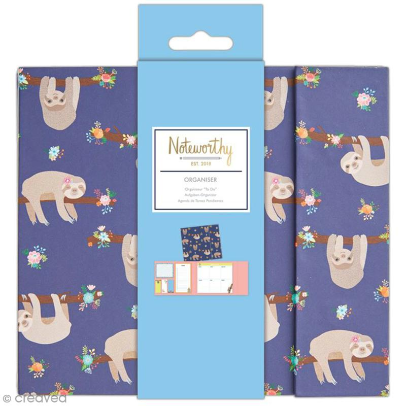 Organiseur bloc notes planning semaine - Docrafts Noteworthy - Collection It's a Sloths life - 6 pcs - Photo n°1