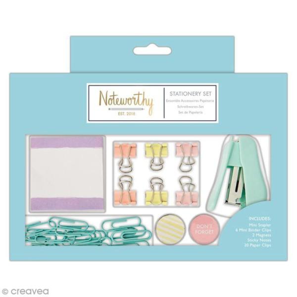 Petit set de papeterie - Docrafts Noteworthy - Collection Pastel hues - 30 pcs - Photo n°1