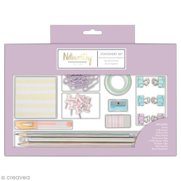 Grand set de papeterie - Docrafts Noteworthy - Collection Pastel hues - 44 pcs - Photo n°1