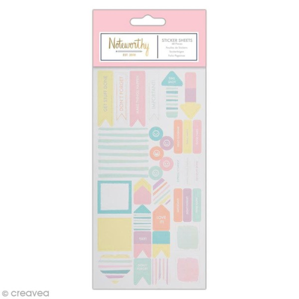 Stickers papier planner - Docrafts Noteworthy - Collection Pastel hues - 68 pcs - Photo n°1