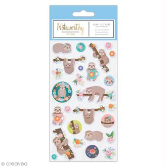 Stickers 3D mousse - Docrafts Noteworthy - Collection It's a Sloths life - 26 pcs