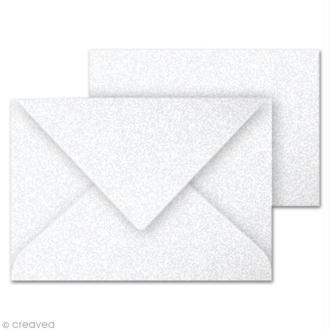 Set mini carte et enveloppe 70 x 95 Blanc irisé x 5
