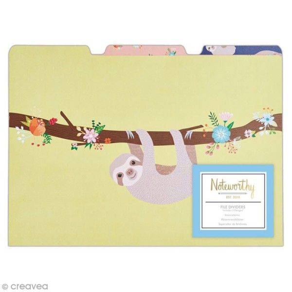Pochette à onglets - Docrafts Noteworthy - Collection It's a Sloths life - 21 x 30 cm - 3 pcs - Photo n°1