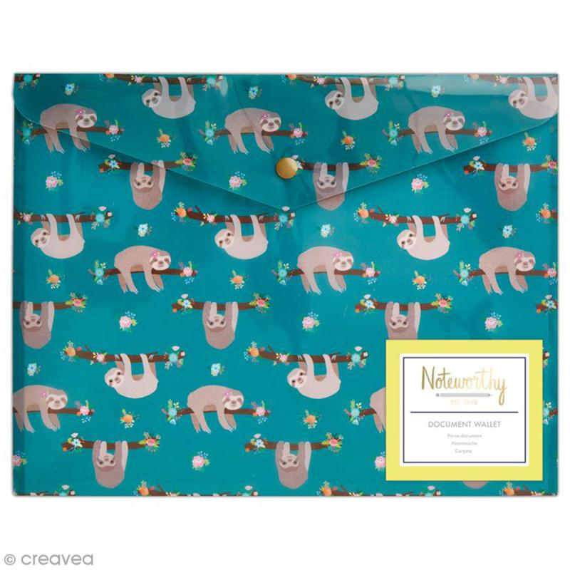 Pochette protège document - Docrafts Noteworthy - Collection It's a Sloths life - A4 - 1 pce - Photo n°1