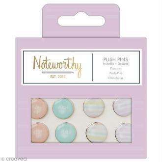 Punaises décoratives - Docrafts Noteworthy - Collection Pastel hues - 8 pcs