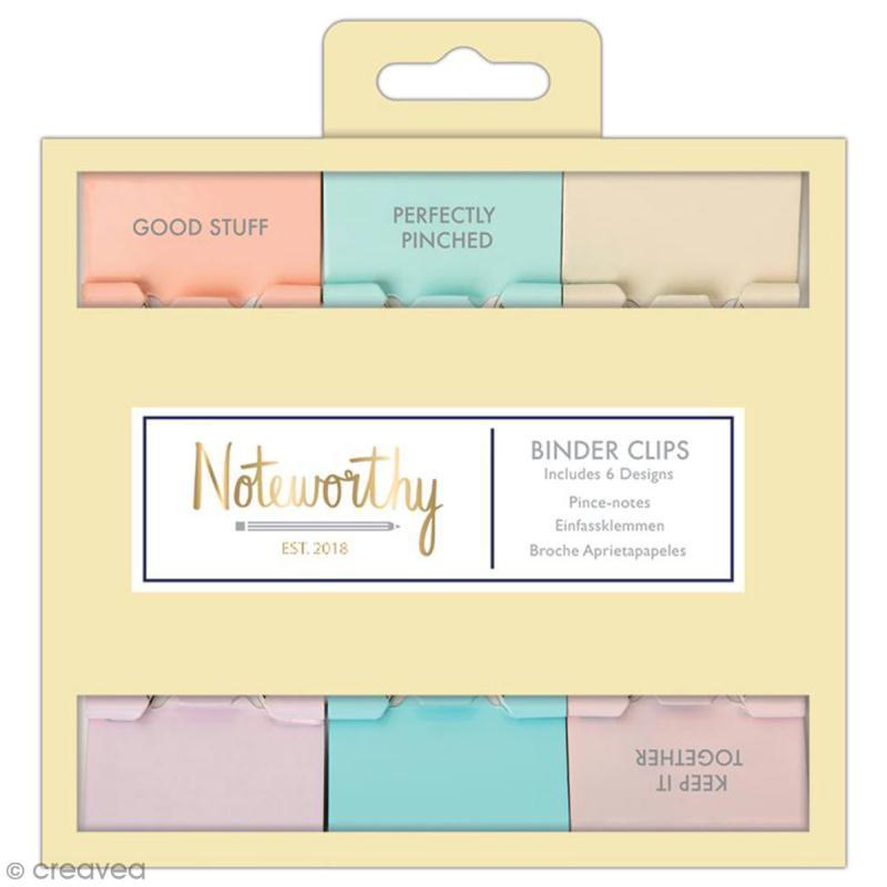 Pinces double clip à dessin - Docrafts Noteworthy - Collection Pastel hues - 6 pcs - Photo n°1