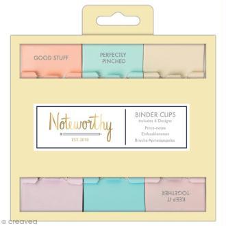 Pinces double clip à dessin - Docrafts Noteworthy - Collection Pastel hues - 6 pcs
