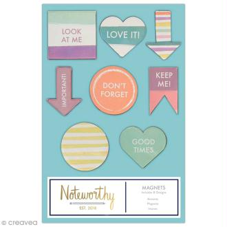 Mini magnet déco - Docrafts Noteworthy - Collection Pastel hues - 8 pcs
