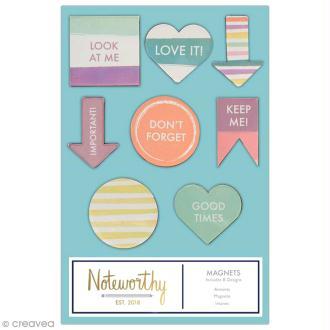 Mini magnet déco - Docrafts Noteworthy - Collection Pastel hues - 8 pcs