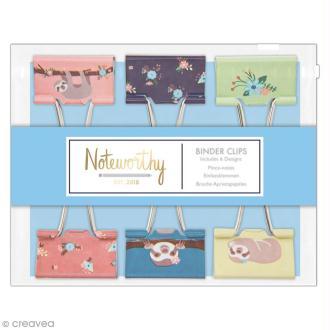 Pinces double clip à dessin - Docrafts Noteworthy - Collection It's a Sloths life - 6 pcs