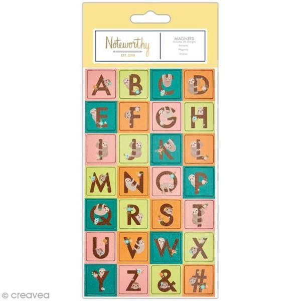 Mini magnet déco alphabet - Docrafts Noteworthy - Collection It's a Sloths life - 28 pcs - Photo n°1