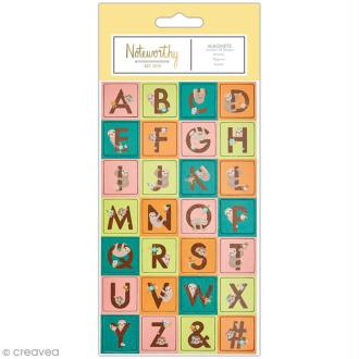 Mini magnet déco alphabet - Docrafts Noteworthy - Collection It's a Sloths life - 28 pcs