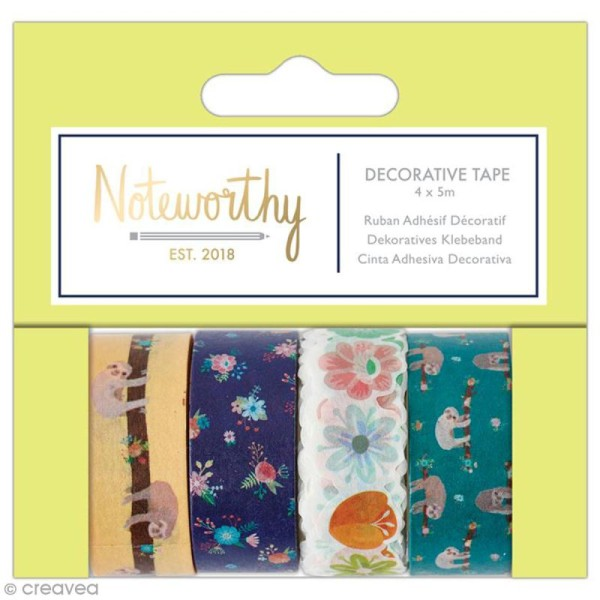 Assortiment Craft Tape - Docrafts Noteworthy - Collection It's a Sloths life - 4 pcs x 5 m - Photo n°1