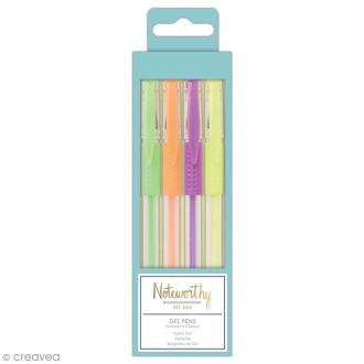 Stylo gel fluo - Docrafts Noteworthy - Collection Pastel hues - 4 pcs