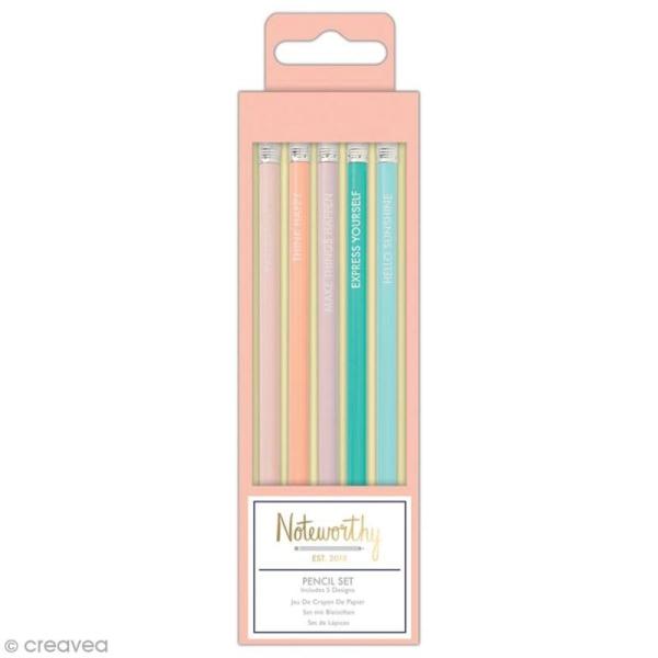 Assortiment de crayons papier - Docrafts Noteworthy - Collection Pastel hues - 5 pcs - Photo n°1