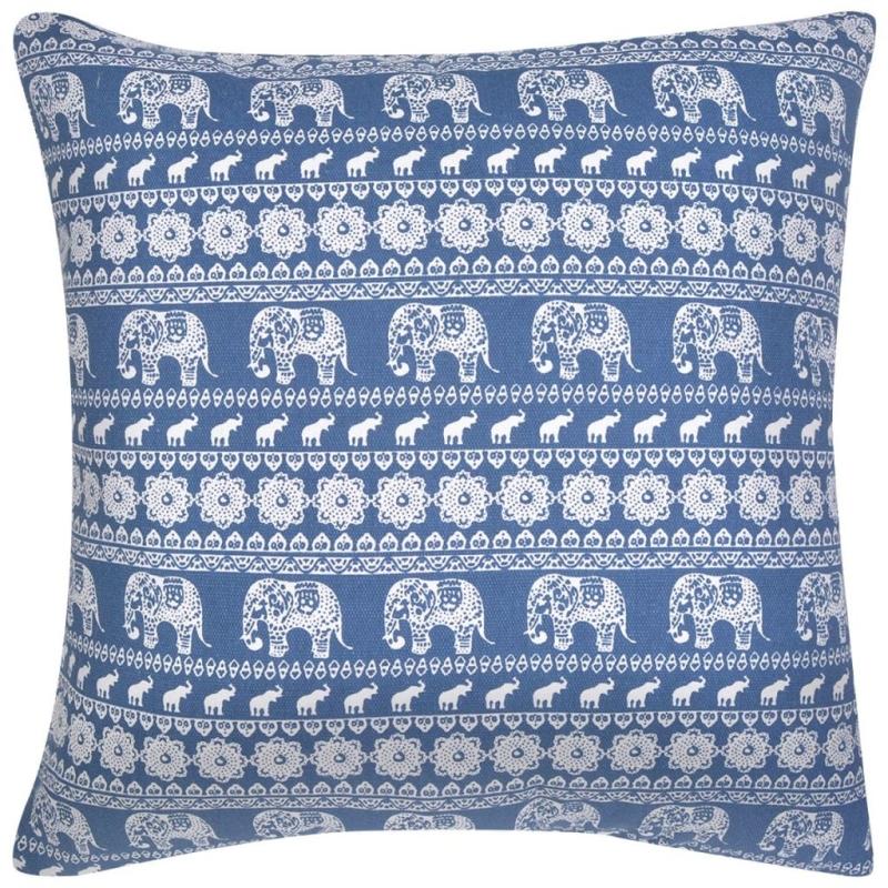 Vidaxl housse d 39 oreiller 4 pcs toile l phant imprim bleu for Housses de canape et fauteuil