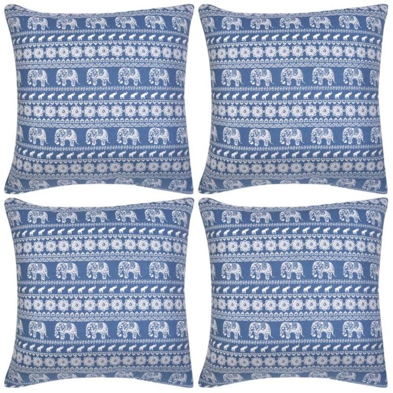 Vidaxl housse d 39 oreiller 4 pcs toile l phant imprim bleu for Housse coussin bleu