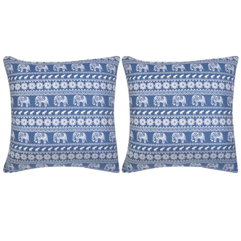 Vidaxl housse d 39 oreiller 2 pcs toile l phant imprim bleu for Housses de canape et fauteuil
