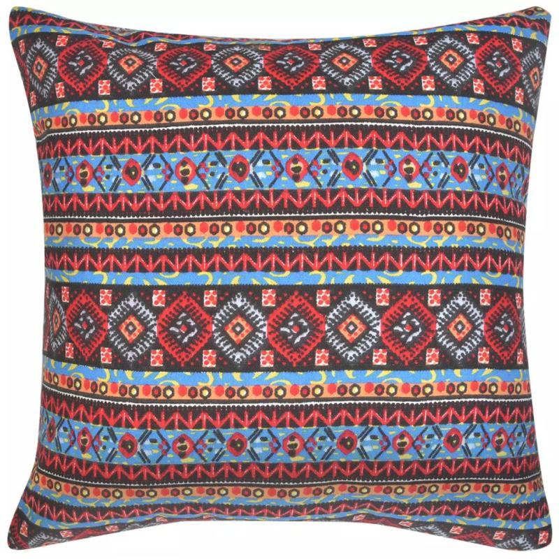 Vidaxl housse d 39 oreiller 4 pcs toile azt que multicolore for Housses de canape et fauteuil