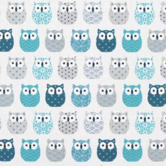 Tissu coton cretonne mini hiboux - Ivoire & bleu canard- Par 50cm - Oeko-Tex®