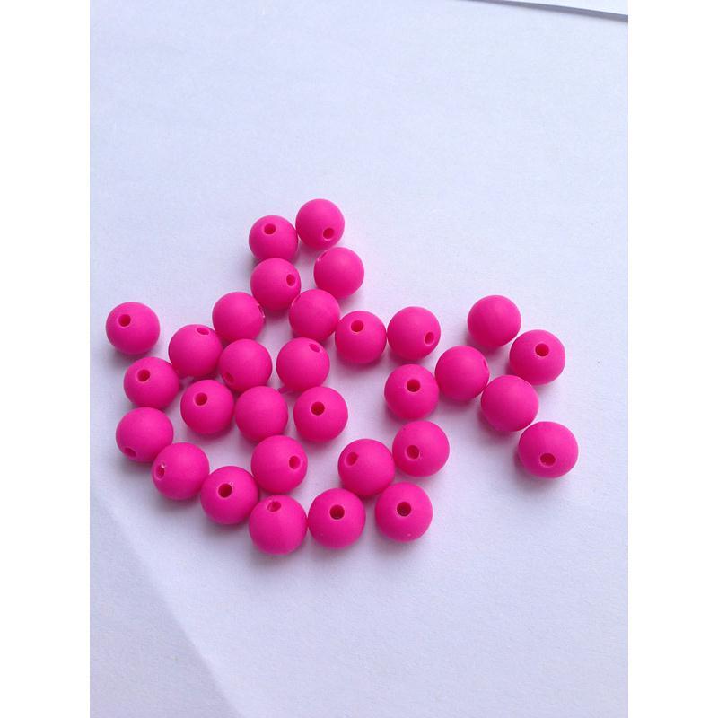 10 perle 10mm silicone couleur fuchsia creation bijoux bracelet attache tetine perles - Perle attache tetine ...