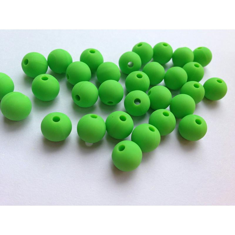 10 perle 10mm silicone couleur vert creation bijoux. Black Bedroom Furniture Sets. Home Design Ideas