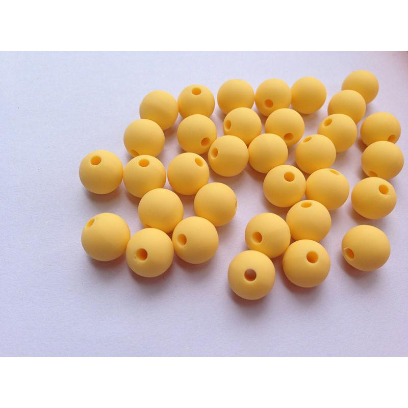 10 perle 10mm silicone couleur jaune creation bijoux bracelet attache tetine perles silicone - Perle attache tetine ...