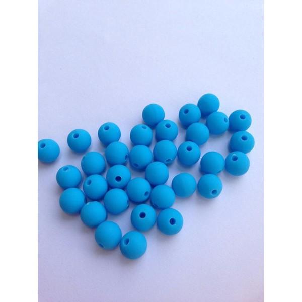 10 Perle 10mm Silicone Couleur Bleu Creation Bijoux, Bracelet, attache tetine - Photo n°1