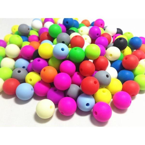 10 Perles couleur mixte mat 14mm  en resine 14 mm perle creation bijoux bracelet