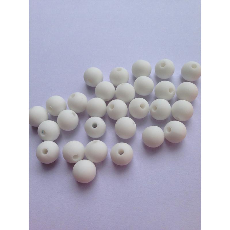 10 perle 10mm silicone couleur blanc creation bijoux bracelet attache tetine perles silicone - Perle attache tetine ...