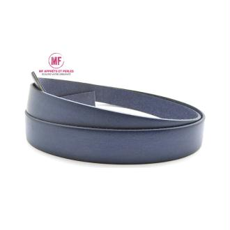 Lanière cuir plat 20mm bleu jeans - Europe - 20cm