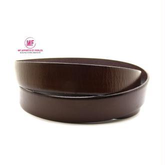 Lanière cuir plat 20mm marron cognac - Europe - 20cm