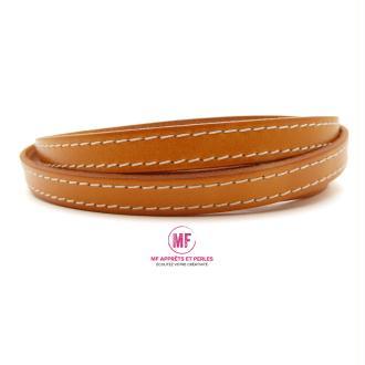 Lanière cuir plat 10mm couture orange réf 2- Europe - 1 mètre
