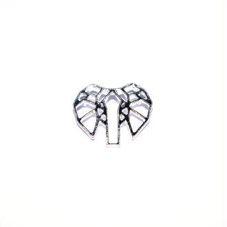 Tête d'éléphant origami argenté 16x13 mm
