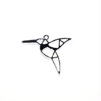 Colibri origami argenté 31x27 mm