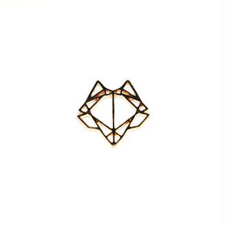 Tête de loup origami doré 24x22 mm