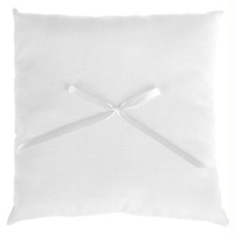 Coussin alliances coton blanc et noeud ruban