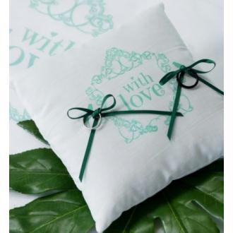 Coussin alliances Vintage blanc vert carré en coton