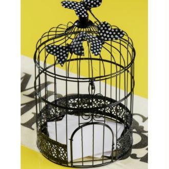 Tirelire cage à oiseaux noire 31 cm