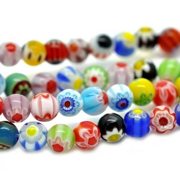 choisissez votre couleur 8 Mm Rond Millefiori Perles de verre sur une chaîne