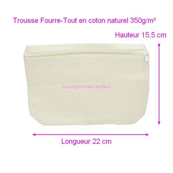 Trousse Fourre-Tout en coton naturel 350g/m², Fourreau Haut. 15,5cm x Long. 22cm, à décorer - Photo n°1
